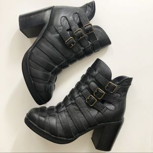 Modern Vice Black Leather Buckle Strap Ankle Boot